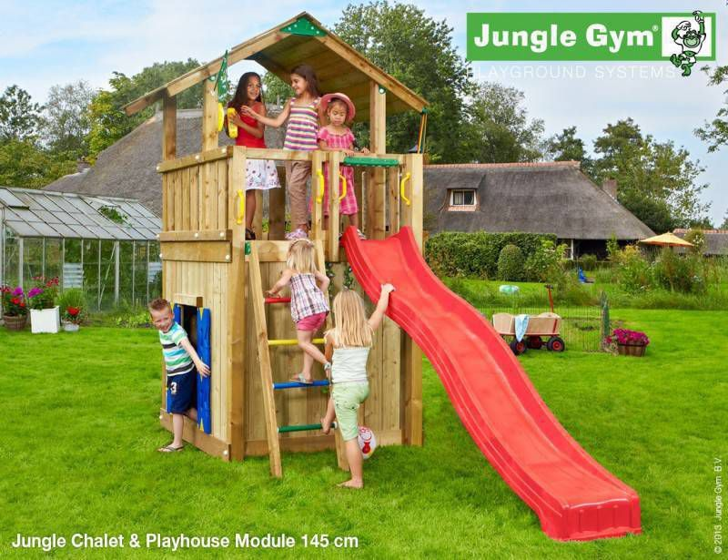 jungle gym chalet playhouse module 145 deluxe tuinhuis totaalmarkt. Black Bedroom Furniture Sets. Home Design Ideas